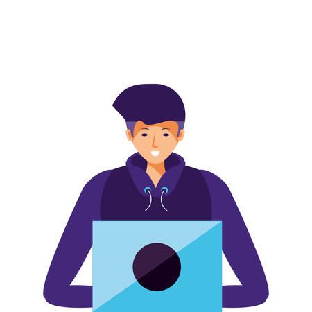 young man using laptop computer vector illustration design Çizim