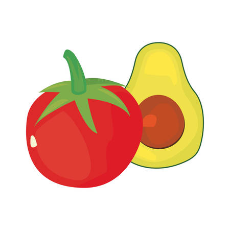 tomato avocado fresh food vector illustration design