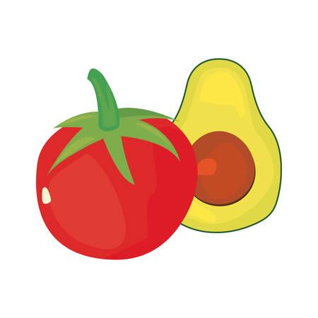tomato avocado fresh food vector illustration design