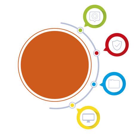 circles and colors tech infographics vector illustration design Stok Fotoğraf - 129330984