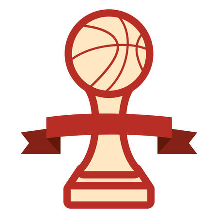 trophy ball basketball sport award vector illustration Stok Fotoğraf - 129330980