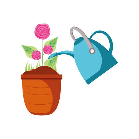 beautiful roses in pot plant with sprinkler pot vector illustration design