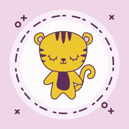 cute tiger animal with frame circular vector illustration design Çizim
