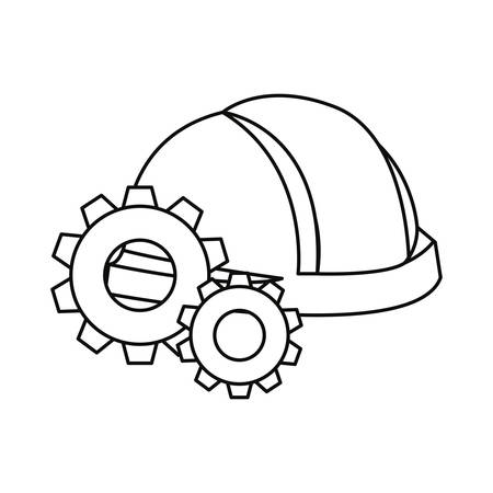 helmet and gears labour day vector illustration