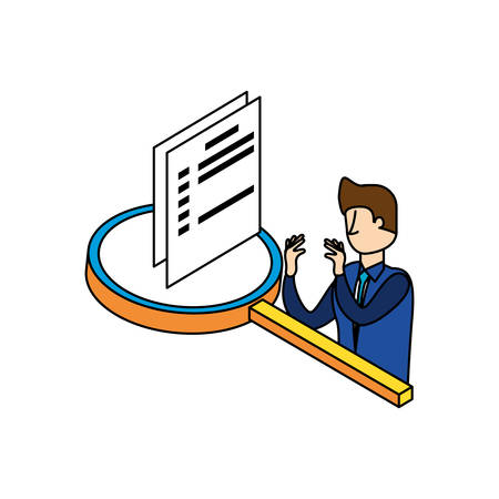 businessman worker with magnifying glass and documents vector illustration design Illustration