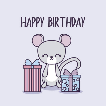happy birthday card with cute mouse and gift boxes vector illustration design