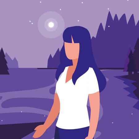 young woman in forest landscape scene vector illustration design