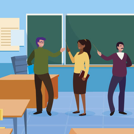 teachers group in the classroom characters vector illustration design