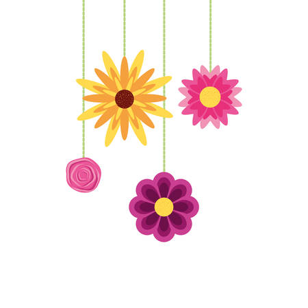 beautiful flowers naturals hanging isolated icon vector illustration design Illusztráció