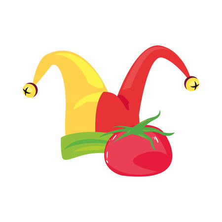 hat and tomato april fools day vector illustration