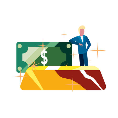 businessman gold bar money banknote vector illustration vector illustration