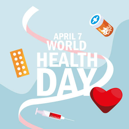 world health day card with bottle medicines and icons vector illustration design Фото со стока - 129365474