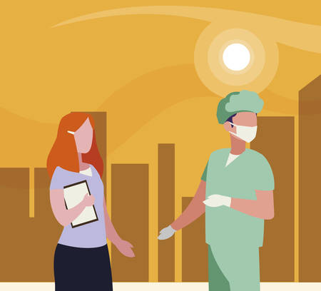 couple of professional workers in cityscape at sunset vector illustration design Çizim