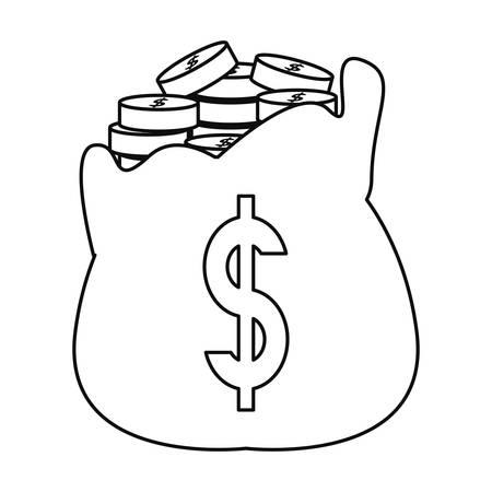 filled money bag coins banking vector illustration  イラスト・ベクター素材