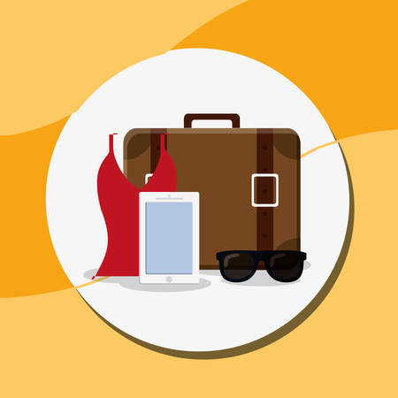 suitcase travel with smartphone and sunglasses vector illustration design