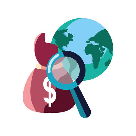 world money bag magnifier analysis vector illustration