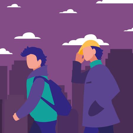 men walking in the city street vector illustration Illusztráció