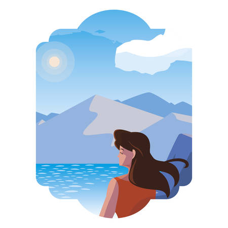 woman contemplating horizon in lake and mountains scene vector illustration Imagens - 129366040