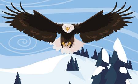 beautiful bald eagle flying in the snowscape vector illustration design Illustration