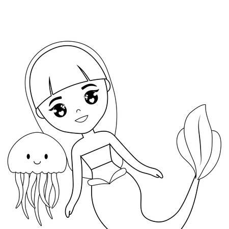 cute mermaid with jellyfish vector illustration design Stock Illustratie