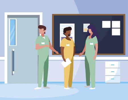 interracial group medicine workers in hospital corridor vector illustration design