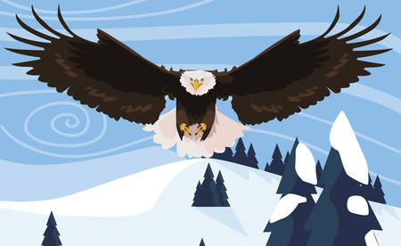 beautiful bald eagle flying in the snowscape vector illustration design Illusztráció
