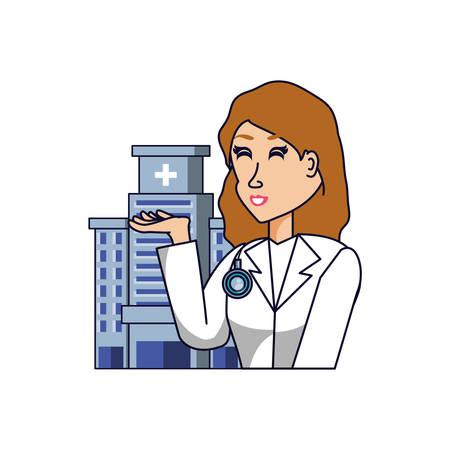 doctor female professional with hospital facade vector illustration design Иллюстрация
