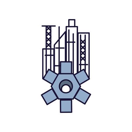 gear pinion machine with cityscape vector illustration design