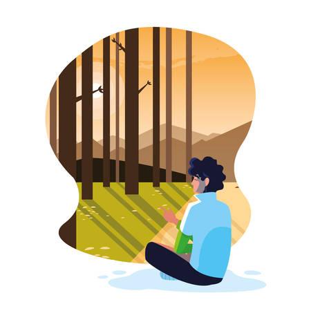 man seated observing forest landscape vector illustration design