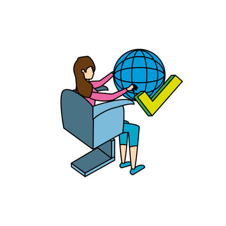 businesswoman worker with sphere browser vector illustration design  イラスト・ベクター素材