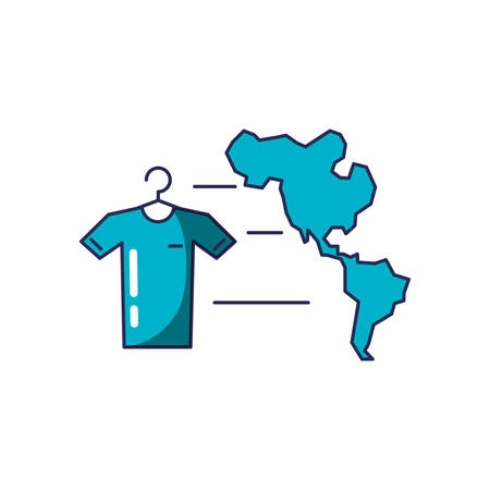 shirt hanging in clothespin with american continent map vector illustration design