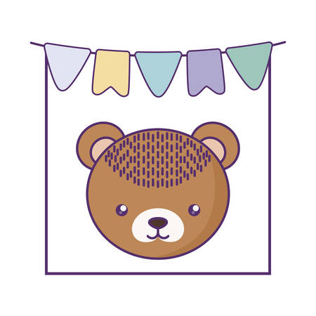 cute little bear baby with garland hanging vector illustration design