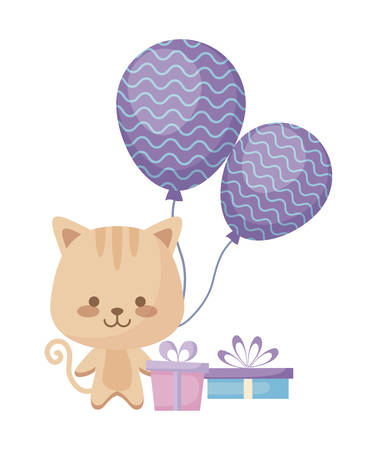 cute cat with gifts boxes and balloons helium vector illustration design Illusztráció