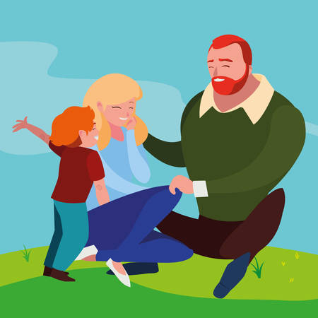 parents couple with son in the field vector illustration design