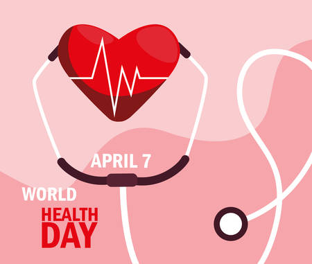 world health day card with stethoscope vector illustration design Фото со стока - 129368244