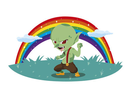 ugly troll with rainbow magic character vector illustration design Ilustração