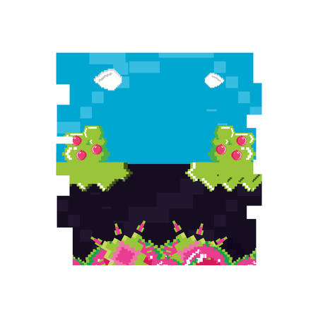 video game pixelate scene vector illustration design  イラスト・ベクター素材