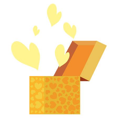 gift box love heart romantic vector illustration Illusztráció