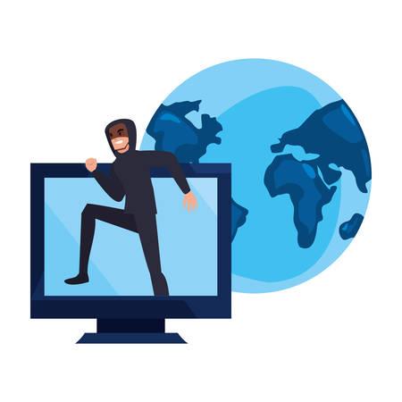 hacker man world computer cybersecurity data protection vector illustration
