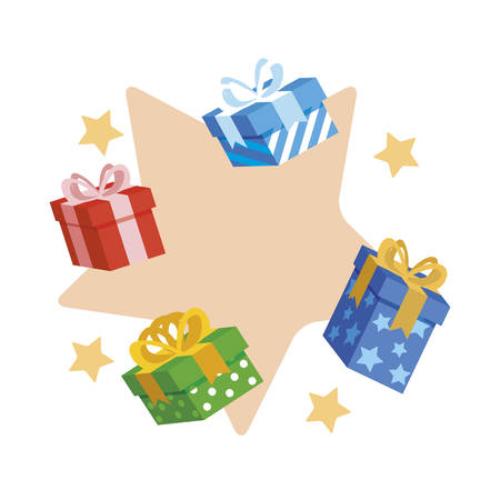 gifts boxes presents icon vector illustration design  イラスト・ベクター素材