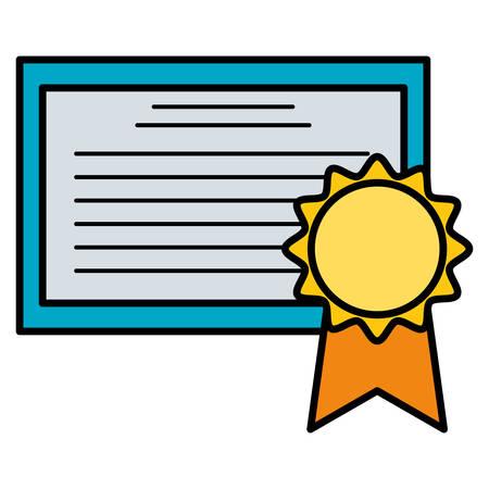 graduation certificate with medal vector illustration design 向量圖像
