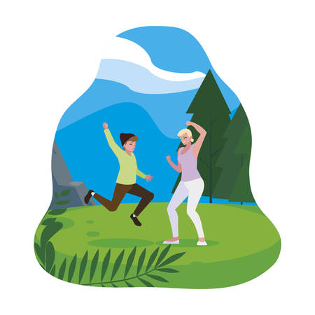 happy young couple celebrating in the camp vector illustration design 일러스트