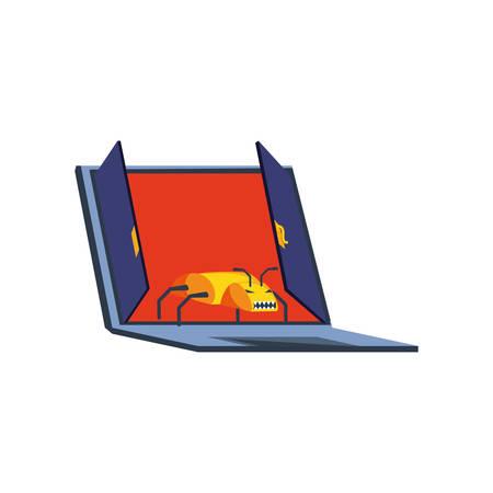 laptop computer with virus attack vector illustration design 일러스트