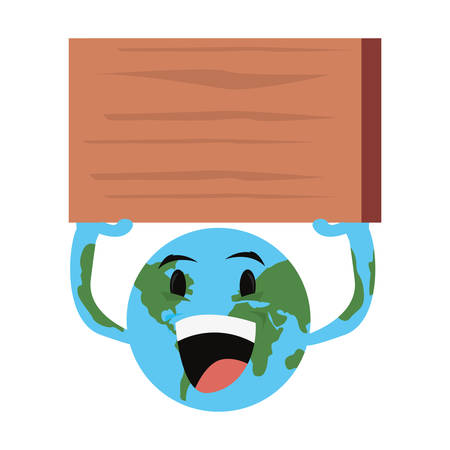 planet with board happy earth day vector illustration Stock Illustratie