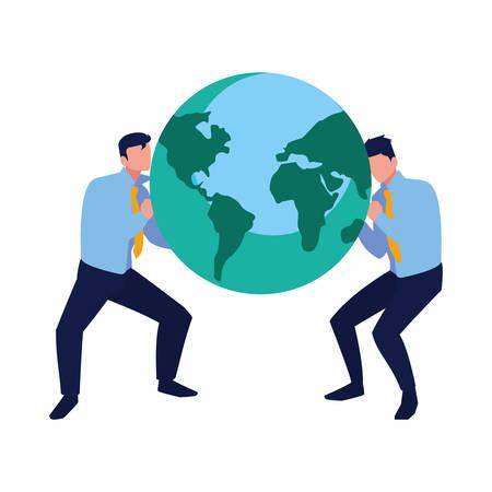 businessmen holding world work team vector illustration