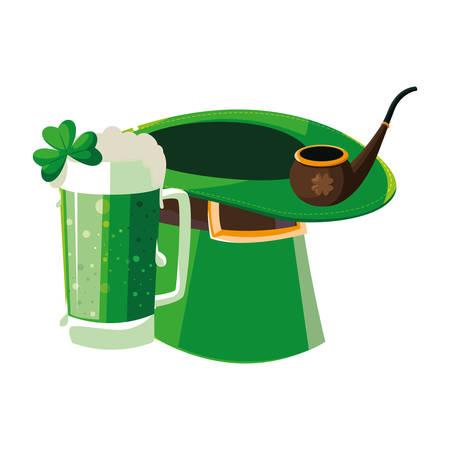 lemprechaun tophat with beer drink vector illustration design