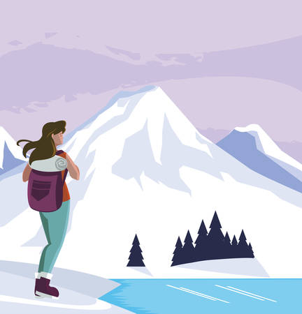 adventurous man with travelbag in the snowscape vector illustration design
