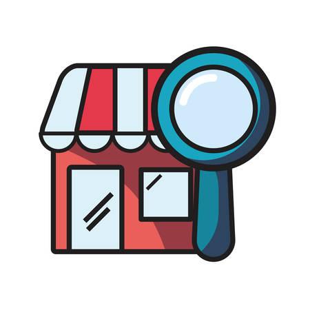 online shopping market magnifying glass vector illustration