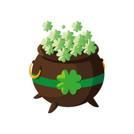 saint patrick cauldron with clovers leafs vector illustration design