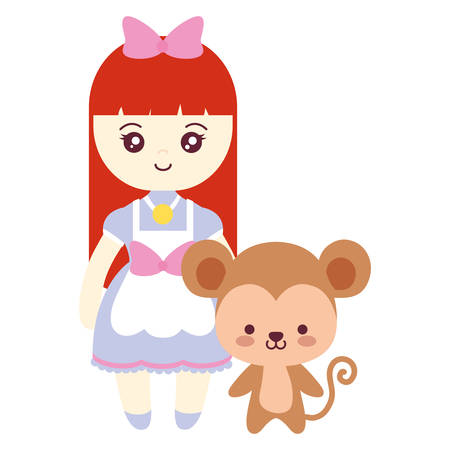 cute and little monkey with girl vector illustration design